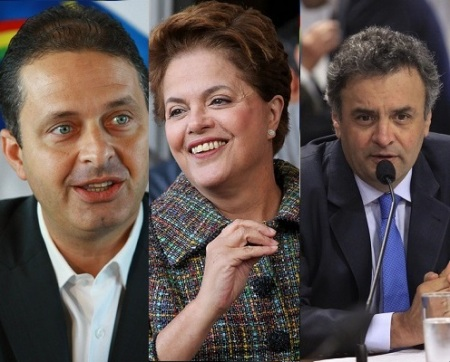 Leading presidential candidates Eduardo Campos, Dilma Rousseff and Aécio Neves