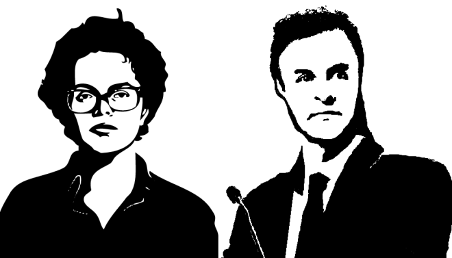Presidential candidates Dilma Rousseff and Aécio Neves